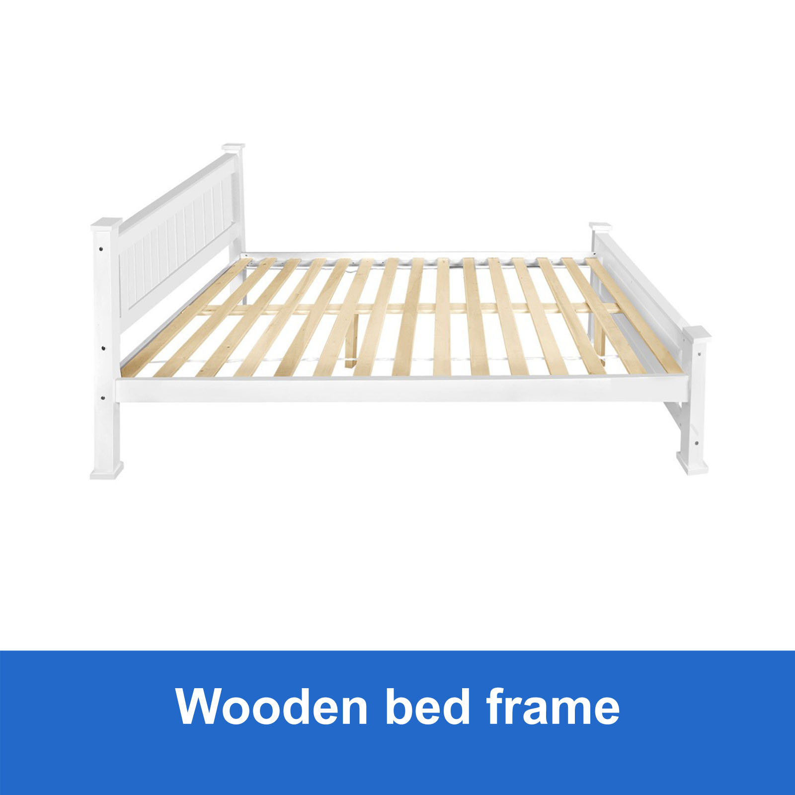 New Wooden Queen Bed Frame White Solid Pine Wood Timber