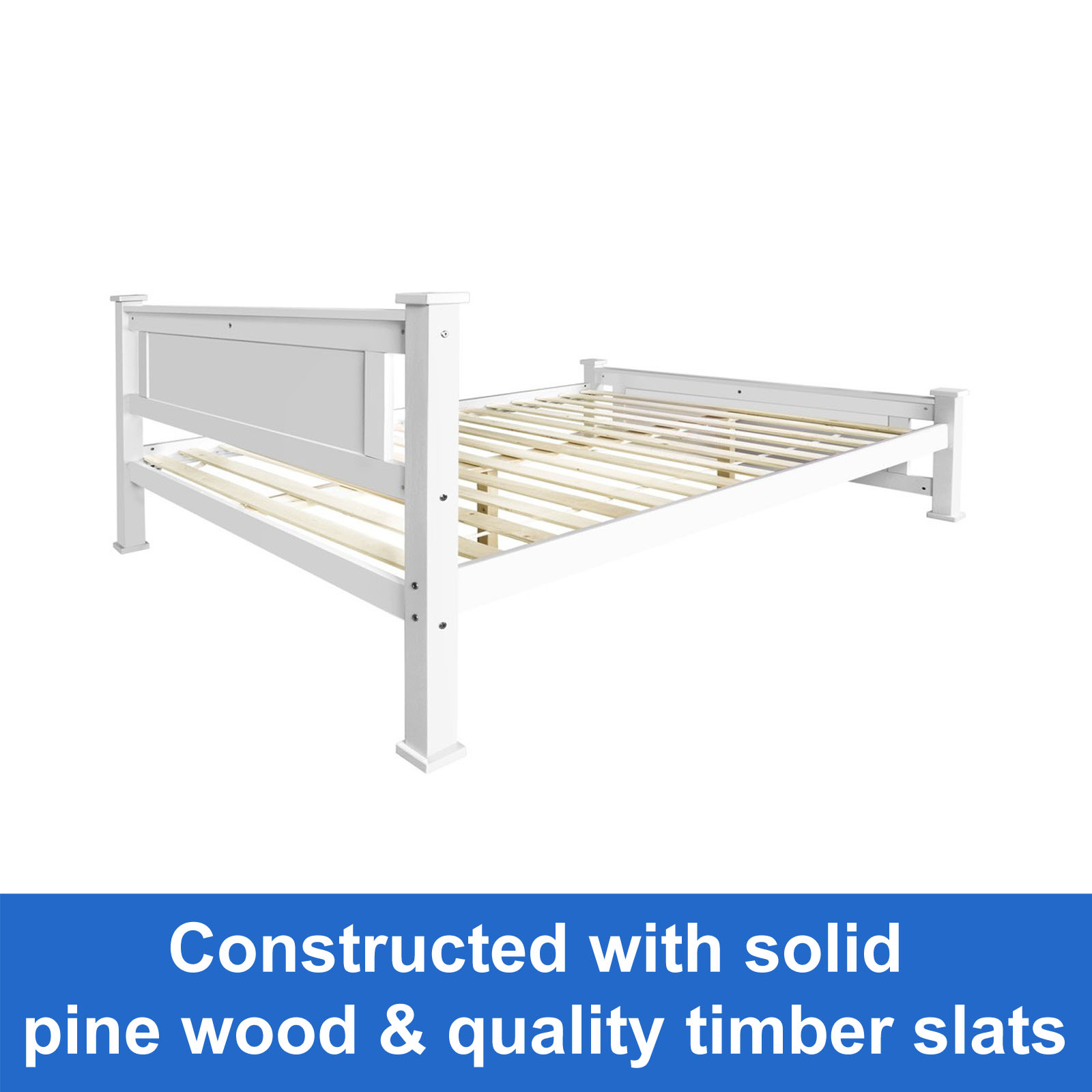 Brand New Wooden Queen Bed Frame White Solid Pine Wood