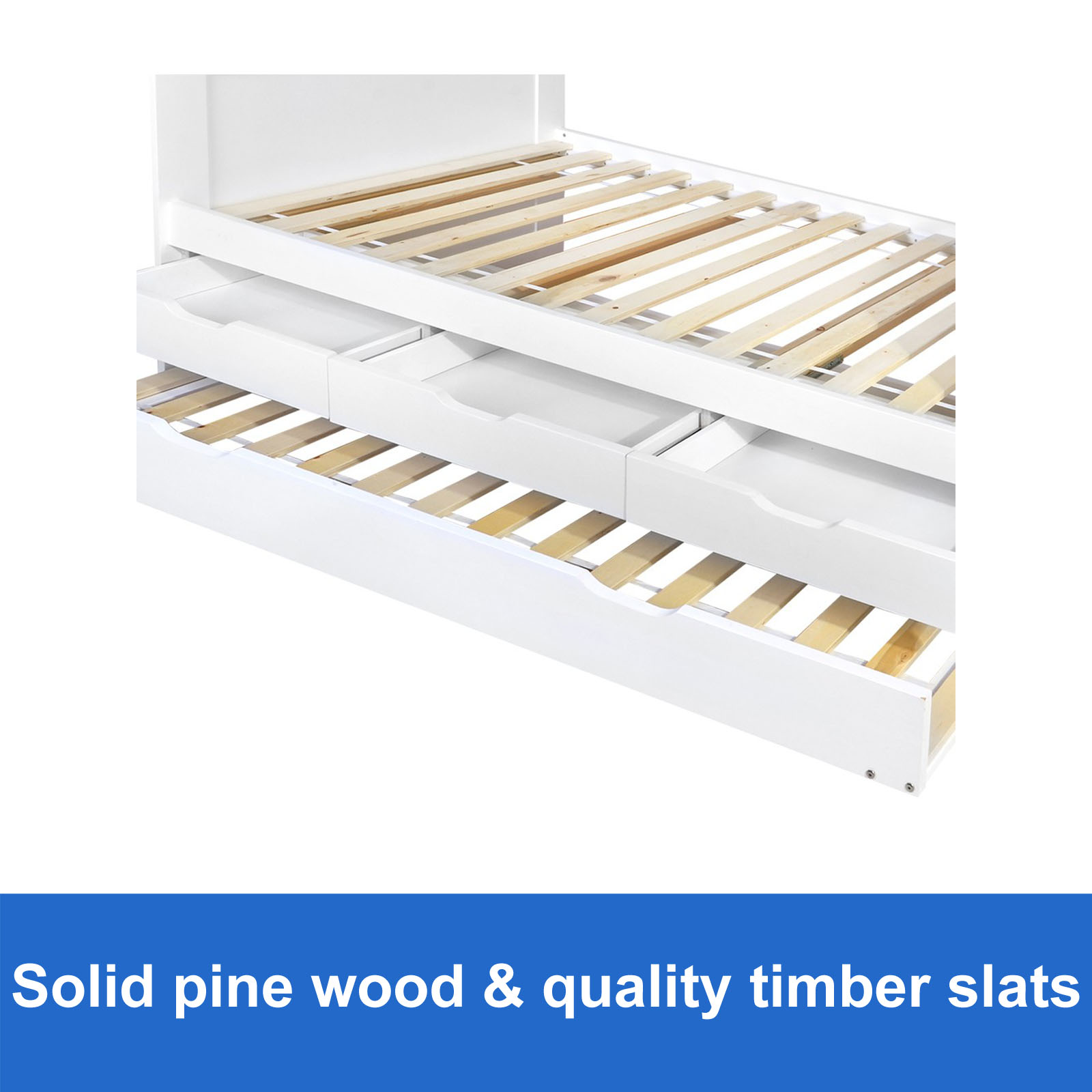 New wooden bed frame single with drawers pine wood white storage pullout trundle ebay - Solid wood trundle bed with drawers ...