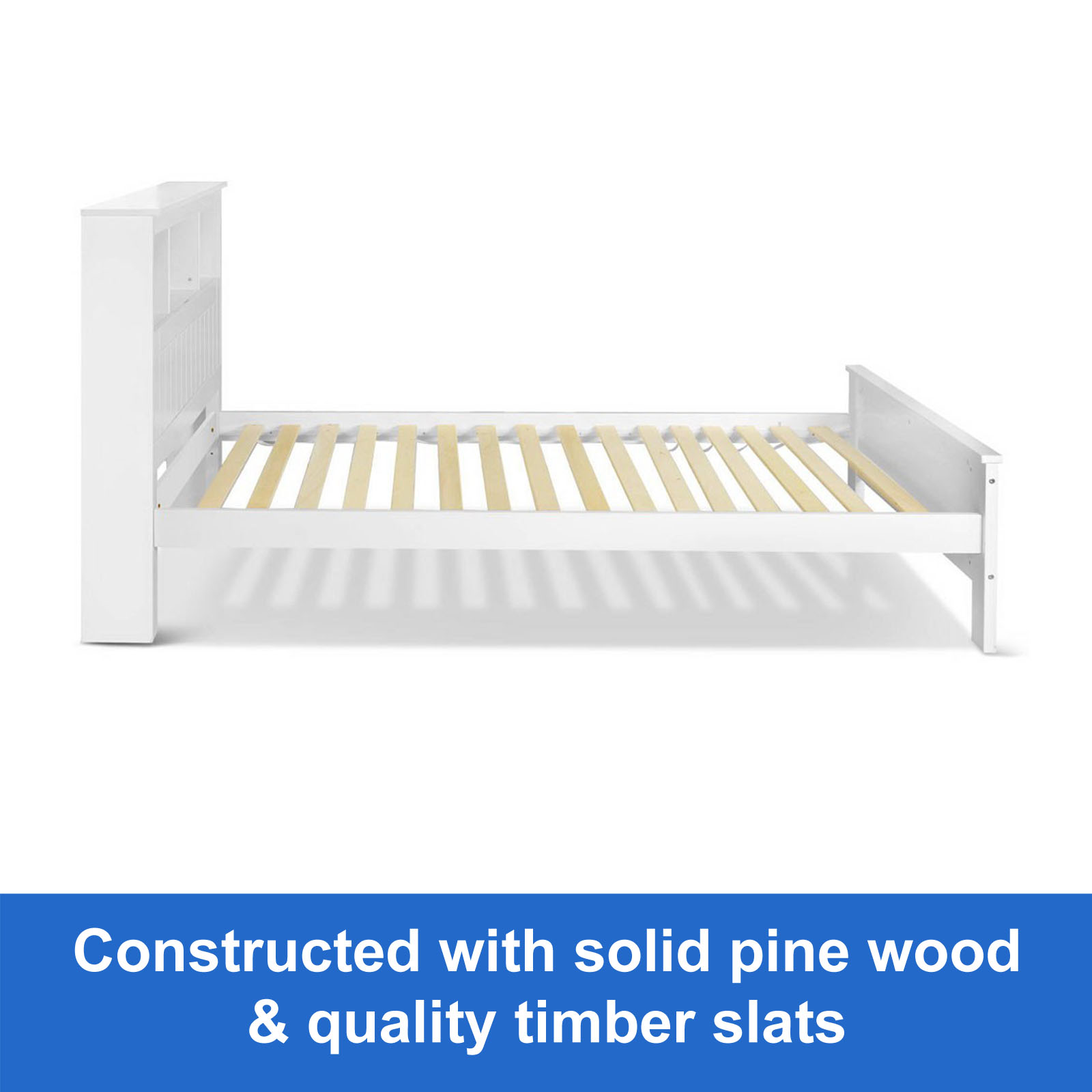 New Bed Frame With Storage King White Wooden Shelf Pine
